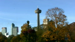 Canadian Niagara Falls Skylon Tower And Fallsview Hotels On The Hill Stock Footage