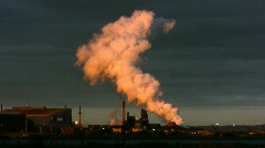 Early Morning Sunrise At A Steelworks Stock Footage