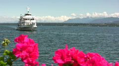 Ship coming into port on Lake Geneva Stock Footage