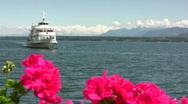 Ship coming into port on Lake Geneva Stock Footage