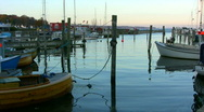 Evening atmosphere in Humlebaek Harbour at sundown Stock Footage