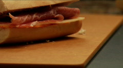 Preparing salami and cheese panini sandwich  Stock Footage