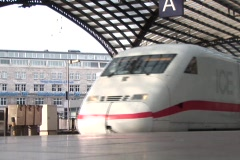 German ICE, high-speed trains. Cologne Main Station. - stock footage