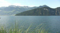 Lake Luzern with small boat Stock Footage