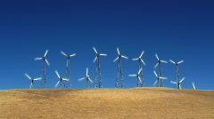 Wind turbines on a hill Stock Footage