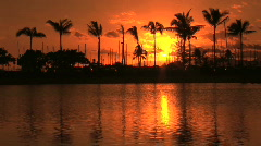 Tropical Sunset Reflected in the Water in Honolulu, Hawaii - Waikiki - stock footage