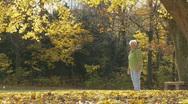 Senior couple having fun in autumn Stock Footage