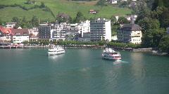 Switzerland,Passenger Boats on Lake Luzern Stock Footage
