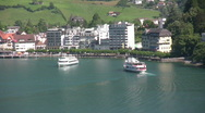 Switzerland,Passenger Boats on Lake Luzern Stock Footage