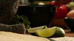 Chef preparing guacamole, adding lime and salt Stock Footage