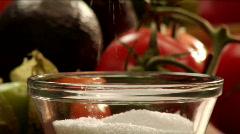 A pinch of salt with vegetables Stock Footage