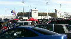 Driving POV In Buffalo Bills Parking Lot Tailgaters Partying Before NFL Game - stock footage