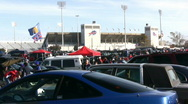 Driving POV In Buffalo Bills Parking Lot Tailgaters Partying Before NFL Game Stock Footage