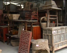 Chinese antique furniture Stock Footage