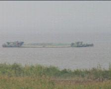 Barge on the Yangzi River Stock Footage