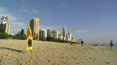 Surfer's Paradise, Gold Coast Beach - Surf Rescue Flags Stock Footage