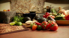 Kitchen with mexican spices and vegetables Stock Footage
