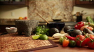 Stock Video Footage of kitchen with mexican spices and vegetables