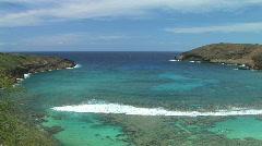 Turqoise Waters of Tropical Hanauma Bay on Oahu, Hawaii Stock Footage
