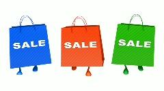 Walking  sale bags Loop - stock footage