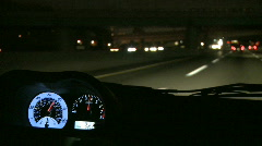 View from Inside a Car at Night - stock footage