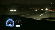 View from Inside a Car at Night Stock Footage