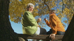 seniors looking back to camera - stock footage