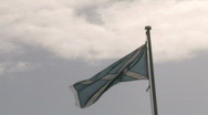 Scottish St Andrews Flag Blowing On A Coudy Day Stock Footage