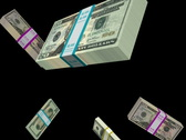 Money falling with alpha channel Loopable NTSC Stock Footage