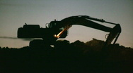 Excavator working at night Stock Footage