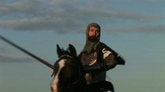 HD1080i Middle Ages Knight with long sword on horse fighting (Slow Motion) Stock Footage