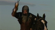 Stock Video Footage of HD1080i Middle Ages Knight with long sword on horse fighting (Slow Motion)