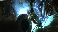 Stock Video Footage of Man Welding, Close Up 1