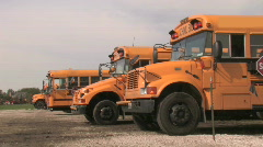 Parked School Buses Stock Footage