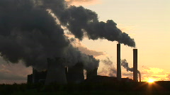 HD1080i Brown coal power station in Germany. Giant smoke stack. - stock footage