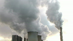 HD1080i Brown coal power station smoke pollution in Germany Stock Footage