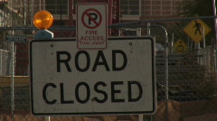 Road closed and fire access street signs. Stock Footage