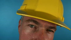Fisheye contractor thinking Stock Footage