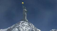 Mountain and Liberty Statue with torch Stock Footage