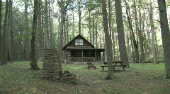 Log Cabin in the Woods - stock footage