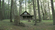 Stock Video Footage of Log Cabin in the Woods
