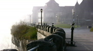 Niagara Canada Street With Spray From The Falls Stock Footage