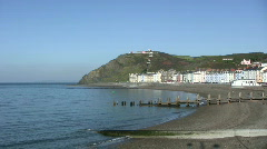 North beach and the sea front in Aberystwyth Stock Footage