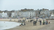 Busy Weymouth Beach in the Winter Stock Footage