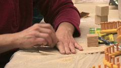 Woman hands sanding blocks M HD Stock Footage