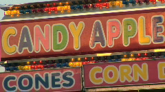 Candy Apple Stand at County Fair - Carnival Food Stock Footage