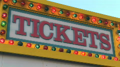 Lit Ticket Booth Sign at Carnival - Amusement Park Ticket Booth - stock footage