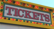 Lit Ticket Booth Sign at Carnival - Amusement Park Ticket Booth Stock Footage