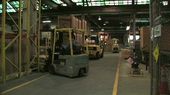 Forklifts in Factory Stock Footage