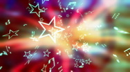 Multicolored music notes and stars Stock Footage